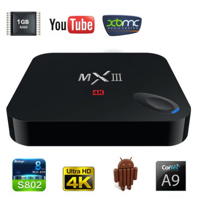 MXIII M82 Amlogic S802 Quad - Core KitKat Cortex - A9 4K Android 4.4 WiFi TV Box Media Hub 1GB RAM 8GB ROM Support HDMI OTG AV I