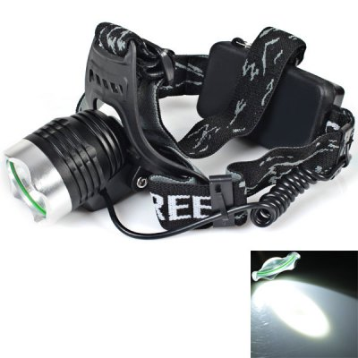 T22 Cree XM-L T6 LED 1000 Lumens 3-Mode LED White Light Headlamp (2 x 18650 3200mAh Battery and Wall Charger Included)