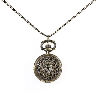 Retro Romam Style Pocket Watch with Hollow out Design