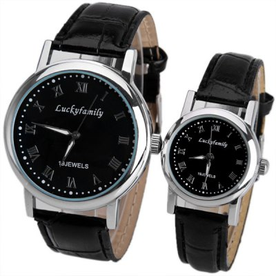 Mechanical Watches with Round Dial and Leather Band for Couple