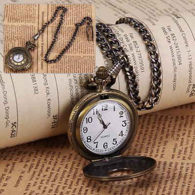 Trendy Quartz Pocket Watch with Hanging Neck Chain for Unisex in Medium Size (Bronze)