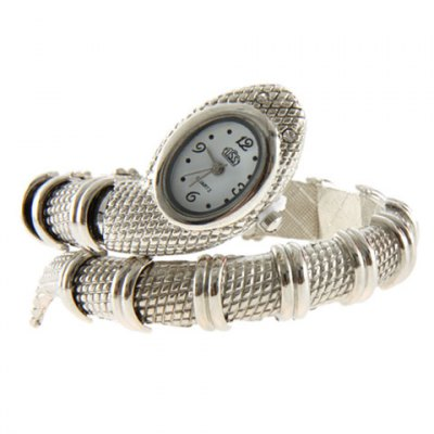 Stylish Snake Patterned Steel Wristwatch Bracelet Watch for Female (Silver)