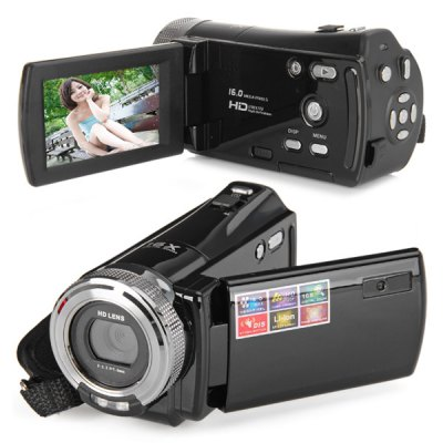 High Definition 2.7 inch TFT LCD 16.0 Mega Pixel HD 720P Digital Video Camera Recorder 16x Digital Zoom Support SD SDHC Card Inp