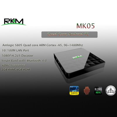RKM MK05 Amlogic S805 Android 4.4 Quad Core TV Box H.265 HEVC Google TV Player ( 1GB RAM 8GB ROM ) for WiFi Bluetooth ( AC 100