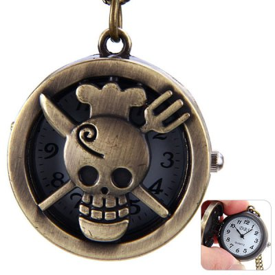 Flip Skull Pattern Quartz Pocket Watch Round Dial