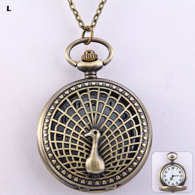 Flip Peacock Spread His Tail Quartz Pocket Watch Large Size