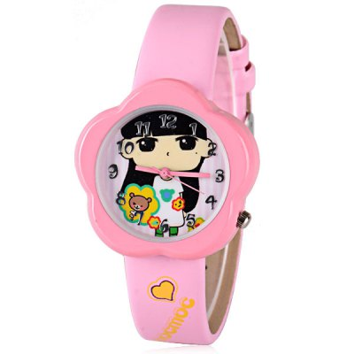 Popular Children Watch Analog with Mocmoc Round Dial Leather Watch Band