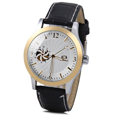 Gucamel Fashion Men Automatic Mechanical Watch with Analog Round Dial Leather Watchband