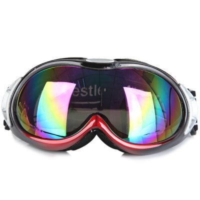Euopean O - Flame Design Red Snowmobile Ski Goggle Windproof Eyewear  -  Large Size
