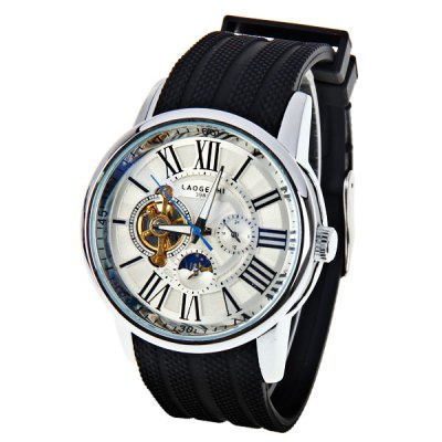 LaoGeShi Quartz Mechanical Watch with Roman Numbers Indicate Silicon Watchband for Men
