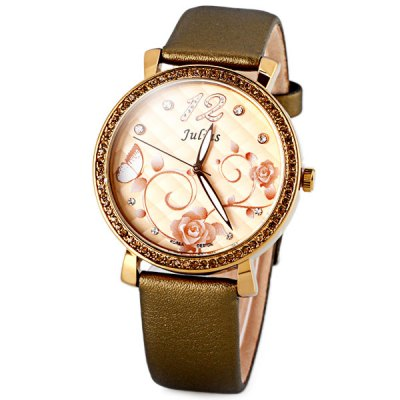 Julius Delicate Leather Band Women Quartz Watch with Diamonds Flowers Round Dial
