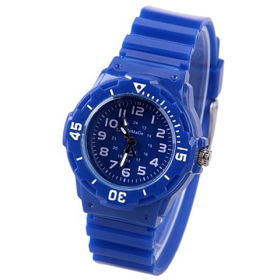 WoMaGe Quartz Children Watch with 12 Arabic Numbers Indicate and Plastic Watch Bandの画像 1
