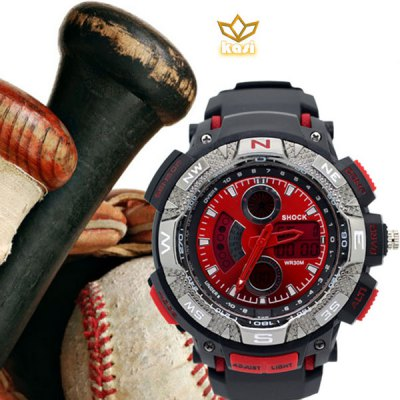 kasi 1118 Watch Double Movt Sports Wristwatch with Digital and Pointer Display Round Dial Rubber Band