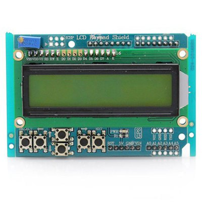 2.5 inch LCD Keypad Shield for Arduino Compatible Duemilanove and LCD (Yellow Backlight and Green Text)