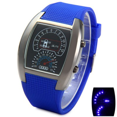 LED Watch Date Day Display Rubber Wristband Rectangle Dial