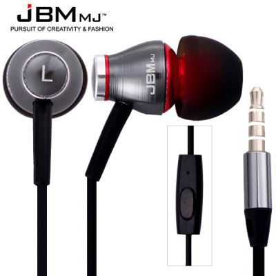 JBMMJ MJ900 Flat Wire Intelligent Mobile Phone Earphones with Burn - in Software CD Perfect Fit for iPad iPod iPhone Samsung etc