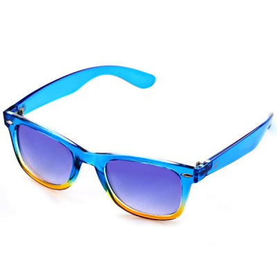Blue and Yellow Secondary Colour Frame Sunglasses with Durable Blue Resin Lens