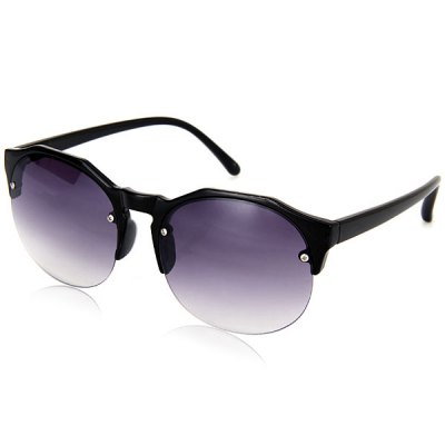 Exquisite Half - frame Sunglasses with Gray Lens for Women