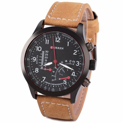Curren Unique Men Watch Analog with Round Dial Leather Watch Band