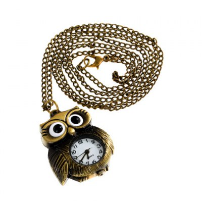 Exquisite Owl Shaped Quartz Pocket Watch with Copper Chain Belt