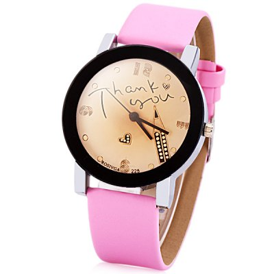 Rosivga Delicate Leather Band Women Quartz Watch with Pencil Round Dial