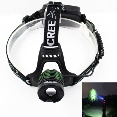KinFire F15 Zooming Focus Headlamp Cree XM - L T6 900LM White Light 3 - Mode LED Light with US Charger and 2 x 18650 Battery