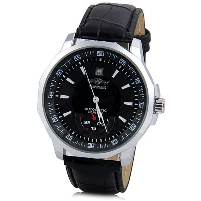 Winner Men Hollow Mechanical Watch with Leather Watchband