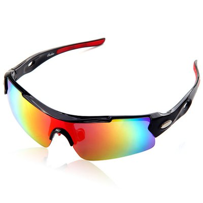 Polycarbonate Reinforced UVA / UVB Protection Goggle Motorcross Goggle Sunglasses Black Frame Square Red Reflex Lens Style