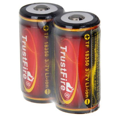 TrustFire 18350 3.7V 1200mAh Li-ion Rechargeable Battery - 2-Pack, with Protection Board