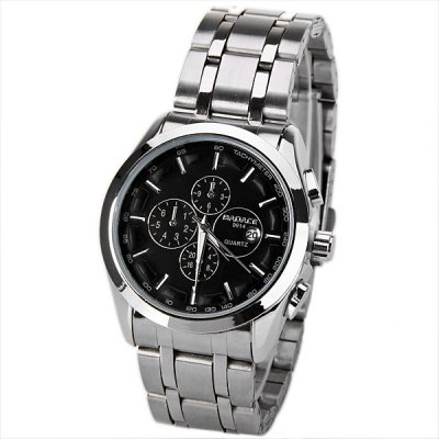 No.9914 Badace Brand Male Watch with Calendar Time Showed by 12 Strips Round Dial Silver Steel Watchband - Black