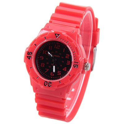 WoMaGe Quartz Children Watch with 12 Arabic Numbers Indicate and Plastic Watch Band