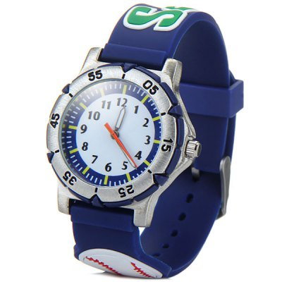 Children 3D Baseball Quartz Watch Rubber Watch Band
