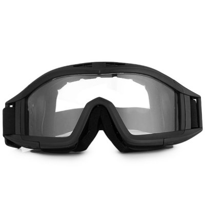 Cool Goggle Transparent Lens Outdoor Eye Protector Black Frame Windproof Eyewear