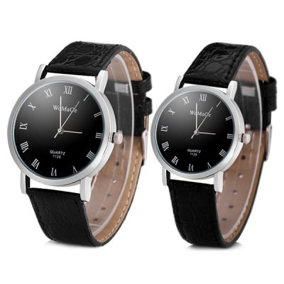 Womage 1128 Lovers Quartz Watch with Round Dial Leather Watch Band