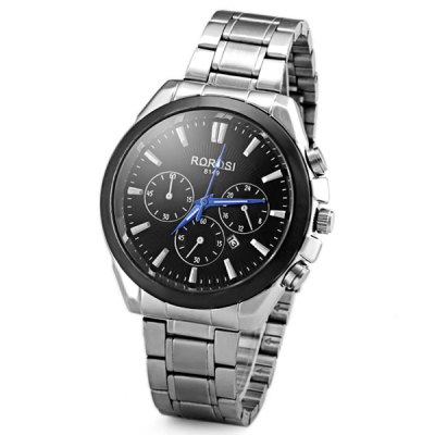 Fashion Men Wrist Watch Analog Display with Date Round Dial Stainless Steel Watch Band