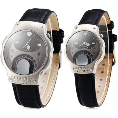 Body Heat Couple Quartz Watch Japanese Movtz Round Dial Genuine Leather Wristband