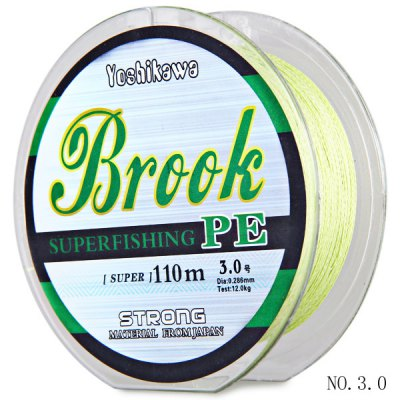 110m NO.3.0 PE Braided Fishing Line 0.286mm Diameter 12kg Breaking Strength with Water Resistant Function