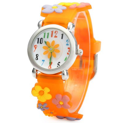 Christmas Gift Children Quartz Watch Flower Rubber Watch Band