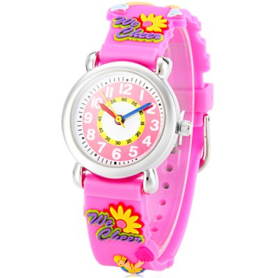 Christmas Gift Children Quartz Watch Cheerleaders Pattern Round Dial Rubber Watch Band