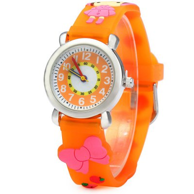 Christmas Gift Children Quartz Watch Girl Pattern Rubber Watch Band