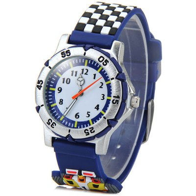 Children 3D Racing Quartz Watch Rubber Watch Band