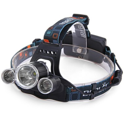 Boruit Cree XML T6 + R5 3 LEDs Rechargeable Headlight ( 3200Lm 4 Modes 2 x 18650 Battery )