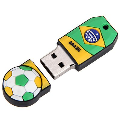Football Style 8GB Capacity USB 2.0 Flash Drive U Disk for Computer  -  Brazil