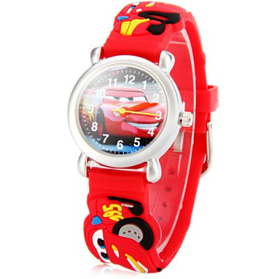 Christmas Gift Children Watch Car Design Round Dial Rubber Watch Band