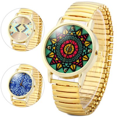 Vintage Style Pattern Quartz Watch Round Dial Elastic Strap for Women or Men