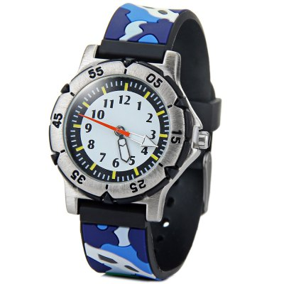 Children 3D Camouflage Colors Quartz Watch Rubber Watch Band