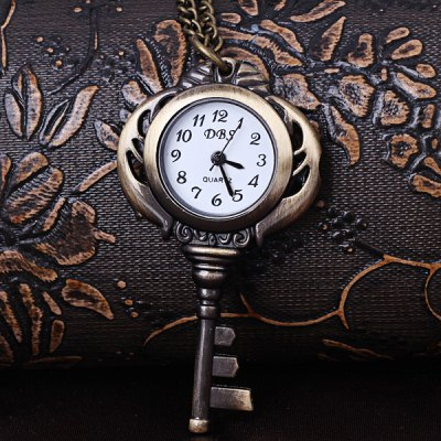 Fashion Key Shape Design 12 Arabic Numbers Analog Pocket Watch