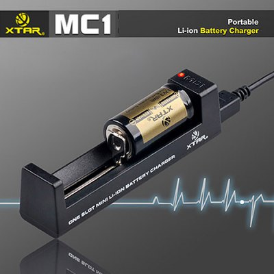Xtar MC1 0.5A Mini USB Battery Charger Compatible with 18500 18650 16650 Batteries