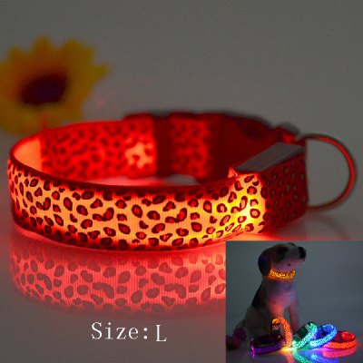 Sexy Leopard Print LED Collar 2.5cm Wide Glow Flashing Puppy Necklace Pet Decorative Props ( 48  -  60cm Adjustable Extent )
