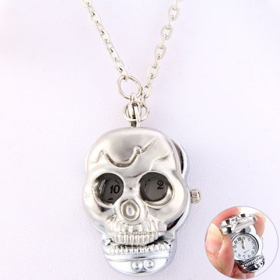 Exquisite Necklace Flip Quartz Watch Skull Pocket Watch